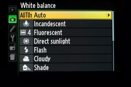 colour temperature when shooting in white balance