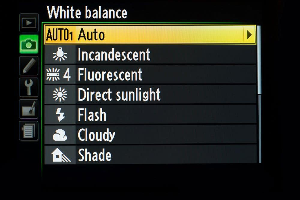 colour temperature when shooting