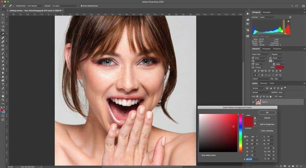 smiling woman - face retouching
