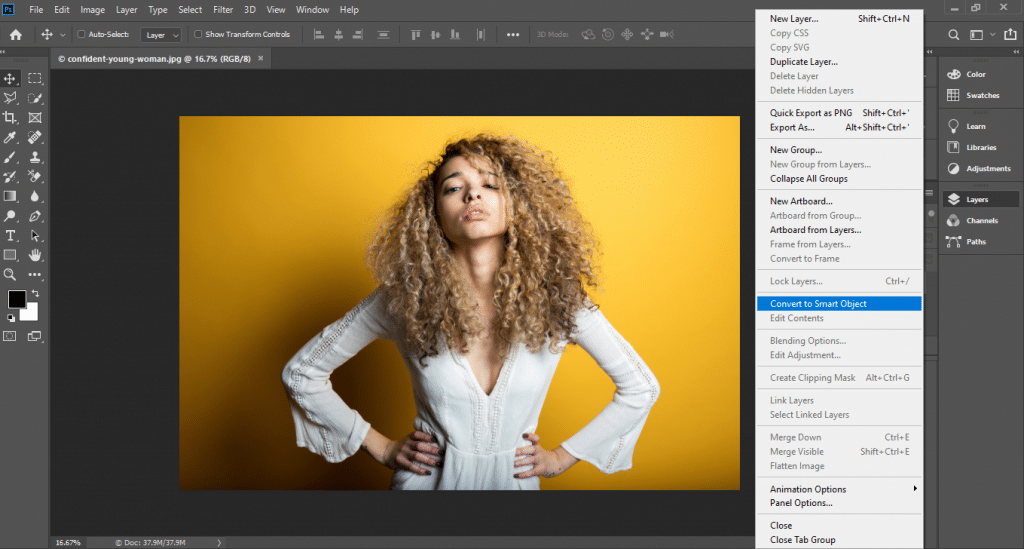 Converting for smart filters in photoshop