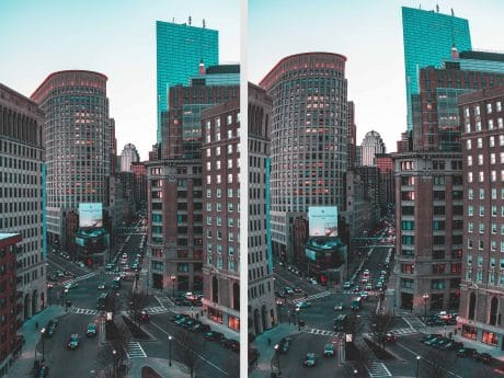 Image distortion in city landscape