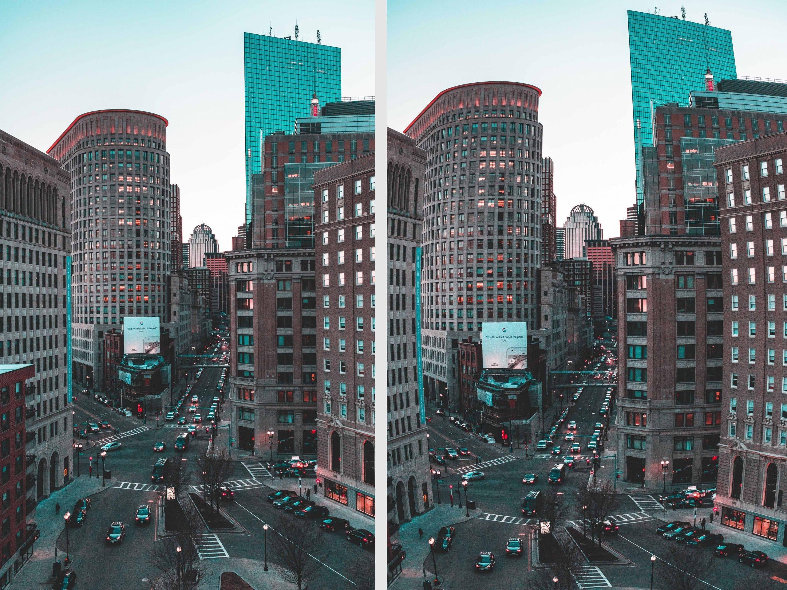Image distortion in city landscape