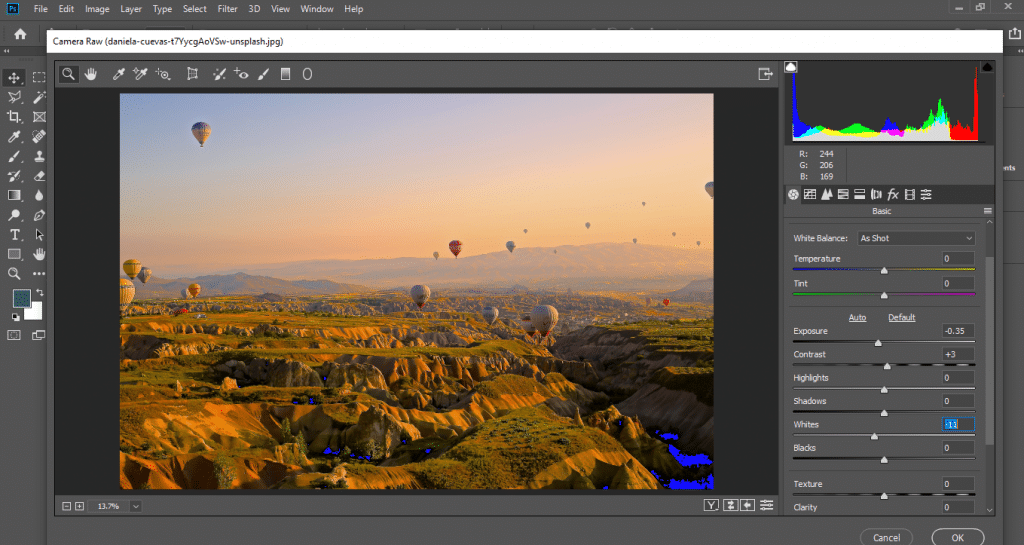Mountains and balloons - How to edit landscape Photos