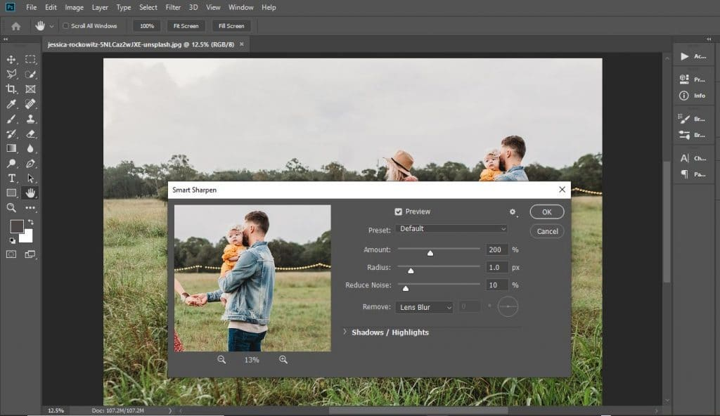 Smart sharpen an image in photoshop
