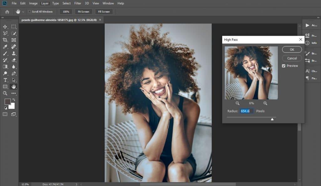 Using high pass filter to sharpen an image