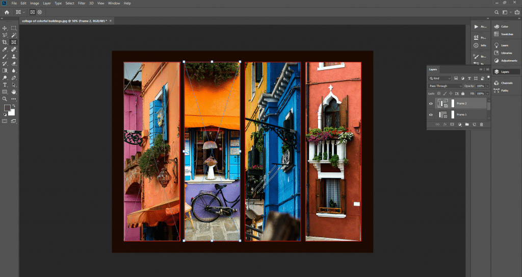 How to make collage of colorful buildings
