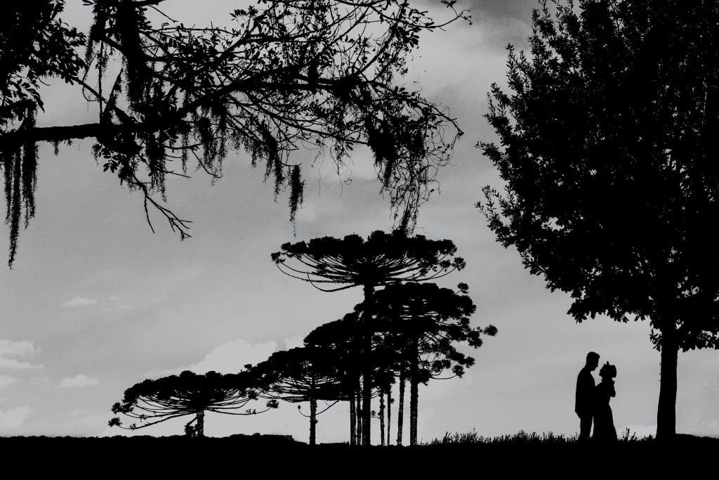 silhouette photography of a couple