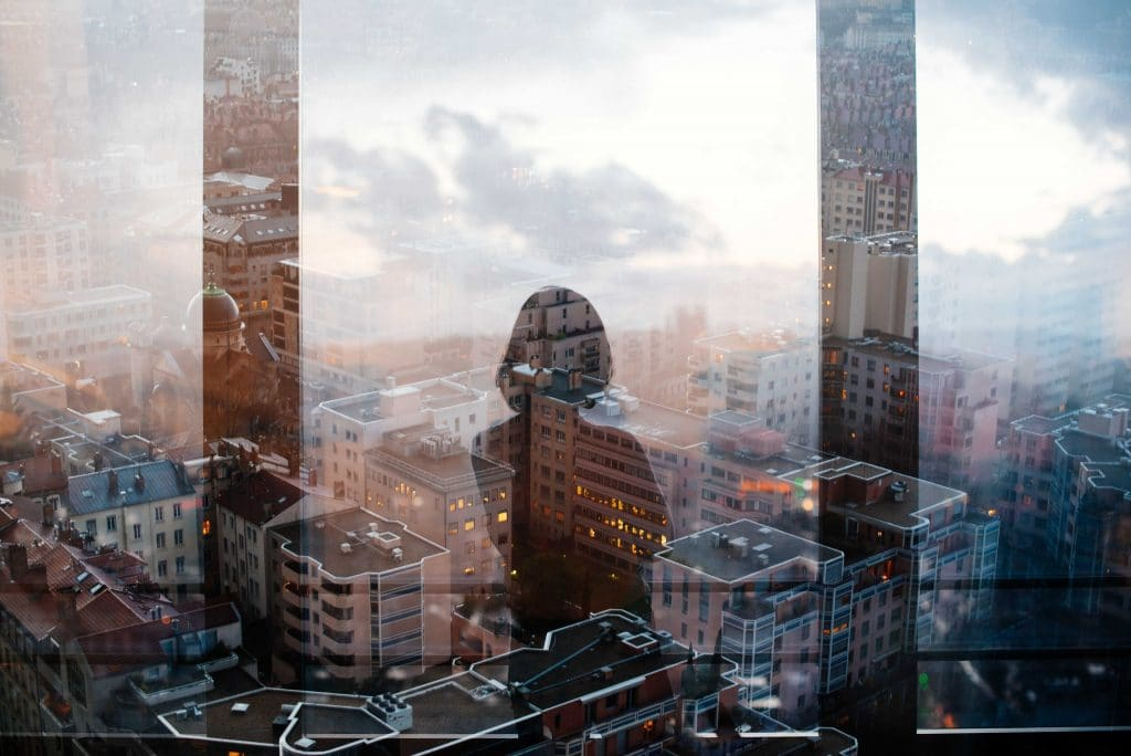 Double exposure photography with cityscape