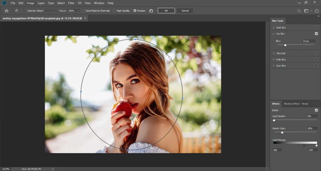 How to apply selective focus in Photoshop