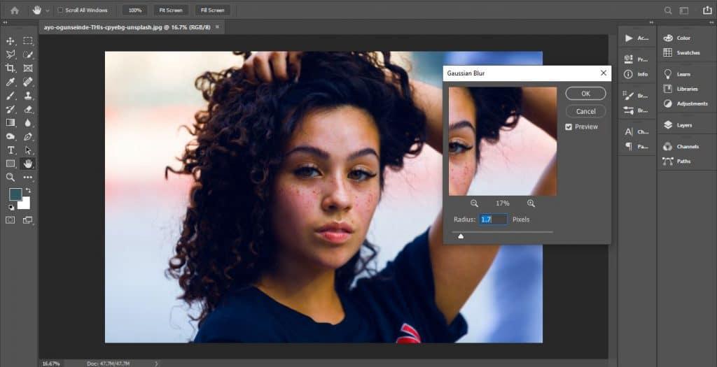 Gaussian Blur in Photoshop