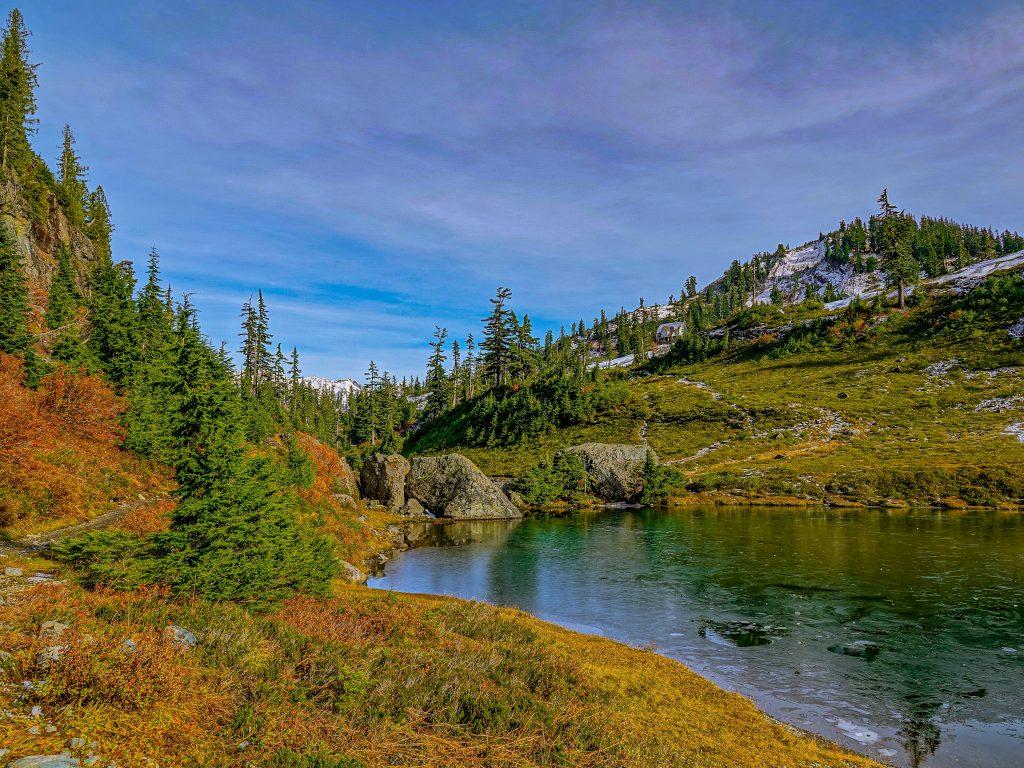 HDR green landscape edited with Lightroom HDR merge