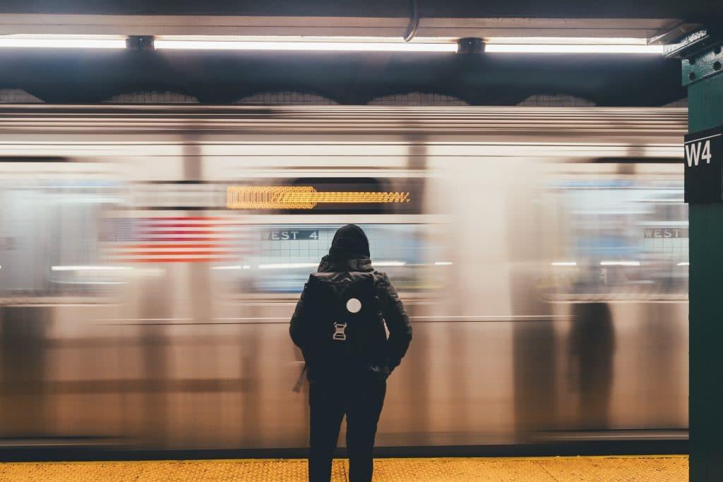 Long exposure phone photography at subway station