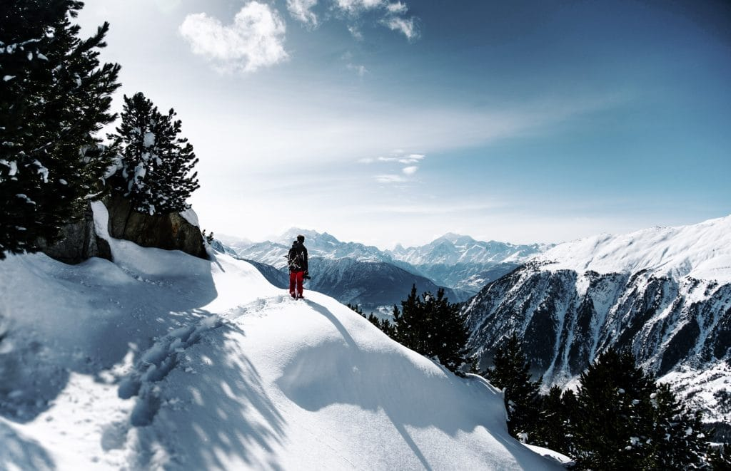 Man on a cliff in snow - Tips for Snow Photography