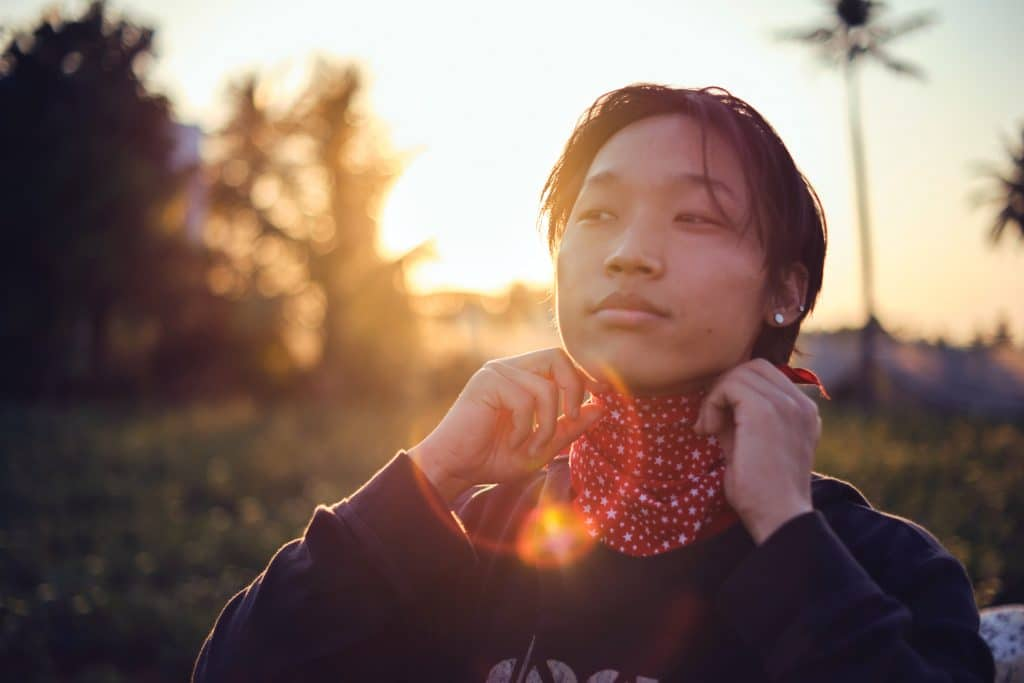 Portrait of a guy with a lens flare