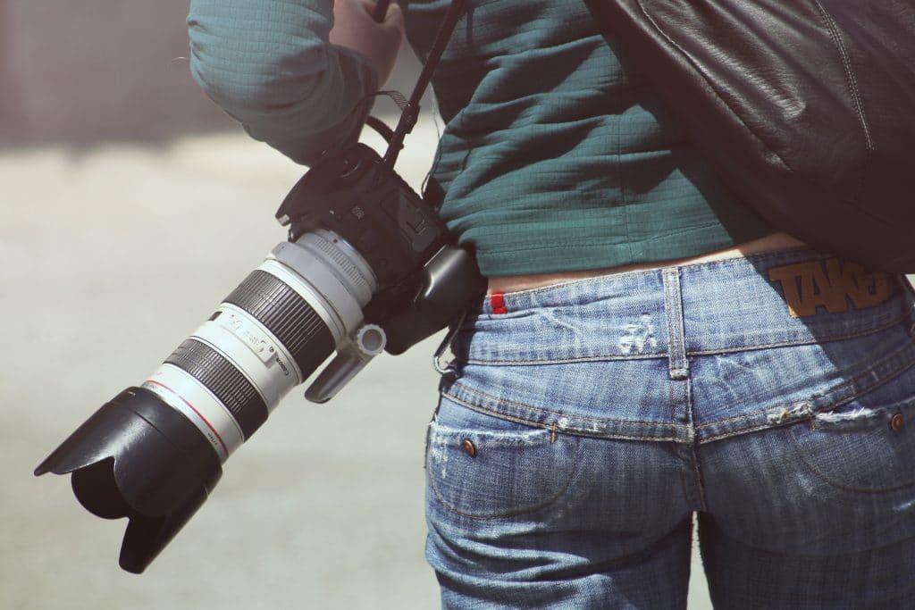 Telephoto lens on a camera