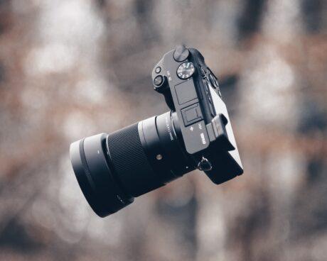 A mirrorless camera in the air