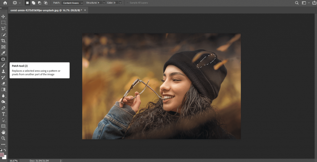 Editing portrait in Photoshop with Patch Tool