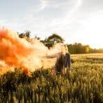 Girl with a smoke bomb